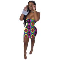 Summer Women Sexy Spaghetti Strap Printed Casual Club Bodycon Dress
