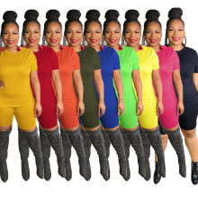 Plus Size Women Short Sleeve Solid Color Summer Casual Tracksuit Short Outfits