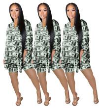 Women V Neck Batwing Sleeve Dollar Print Pants Set 2pcs