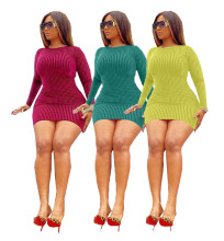Women Fashion Round Neck Long Sleeve Solid Color Casual Short Pencil Dress