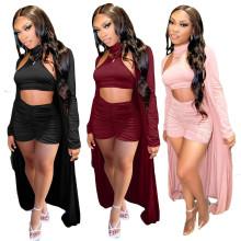 Women Sleeveless Solid Color Draped Short Pants Set + Long Coats Outfits 3pcs