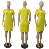 Women Short Sleeves V Neck Solid Color Casual Club Party Pockets Mini Dress
