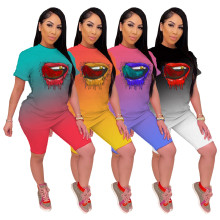 Women Short Sleeve Gradient Lip Print Casual Pants Set 2pcs