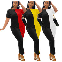Newly Women's Fashion Round Neck Short Sleeve Color Block Casual Slim Dress