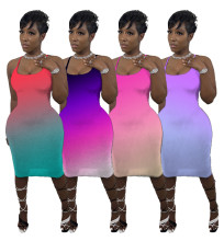 Women Sexy Spaghetti Strap Gradient Print Backless Summer Casual Bodycon Dress
