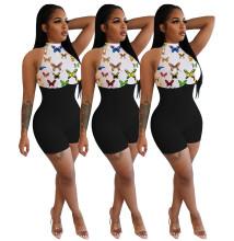 Women Fashion Sleeveless Butterfly Print Zipper Patchwork Short Bodycon Jumpsuit