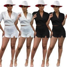 Women's new fashion suit collar short sleeve shorts two-piece suit
