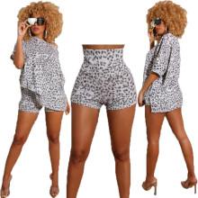 Women's summer new style leopard print casual loose long T-shirt + high waist short two-piece suit
