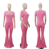 Women Short Sleeves Solid Color Slim Casual Sexy Club Bell Bottoms Long Jumpsuit