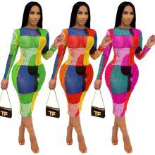 New women's clothing fashion digital printing net yarn dress
