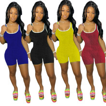 Women Sleeveless Solid Color Sports Casual Bodycon Cute Short Jumpsuit Rompers
