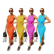 Summer Women Sleeveless Solid Color Side Slit Casual Fashion Simple Midi Dress