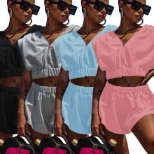 Women Sleeveless Zipper Pure Color Fleece Casual Sport Short Pants Set Two Piece