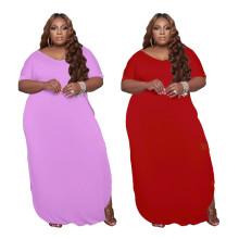 Summer Plus Size Women Short Sleeve Pockets Side Slit Loose Solid Color Dress