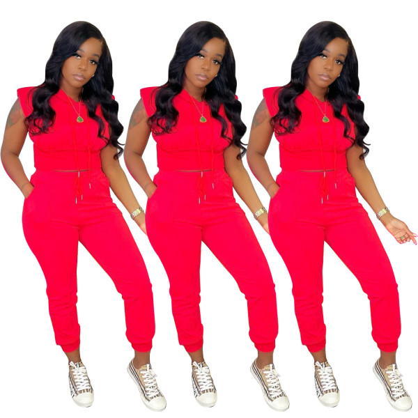 Women's solid color sports and leisure hooded two-pocket two-piece suit