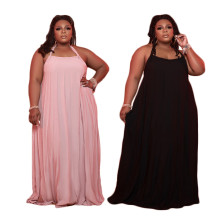 Plus Size Women Halter Tie Solid Color Backless Sexy Casual Long Loose Dress