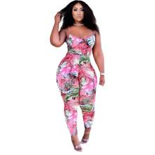 Plus Size Women Spaghetti Strap Vest Leaves Print Long Pants Fashion Outfits
