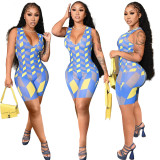Summer Women's Vest Sleeveless Geometric Print Skinny Jumpsuit