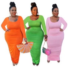 Plus Size Women Stylish Round Neck Long Sleeve Ruched Solid Color Bodycon Dress