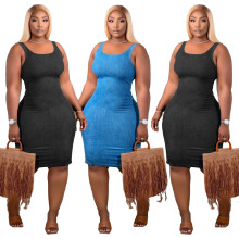 Sexy women fashion denim sleeveless dress