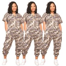 Women's camouflage fashion casual loose short-sleeved jumpsuit