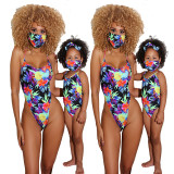 Family Match Mother Daughter Spaghetti Strap Printed Backless Bikini with Mask