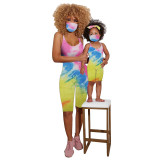 Mother and Daughter Spaghetti Strap Tie-dyed Print Backless Mask Crop Jumpsuit
