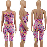 Mother Daughter Spaghetti Strap Backless Print Jumpsuit Family Matching Outfits