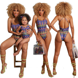 Mother Daughter Family Swimsuit Criss-cross Backless Printed One-piece Bikini