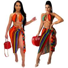 Women Colorful Stripes Print Bandage Summer Beach Bikini Swimwear Swimsuit 3pcs
