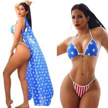 3PCS Women Sexy American Flag Print Halter Sleevelss Bikini Set Beach Swimsuit