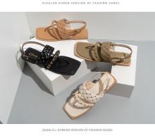 Summer women's shoes rivet chain flat heel casual square toe flat shoes
