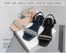 Summer new style ethnic style square head strap low-heeled sandals