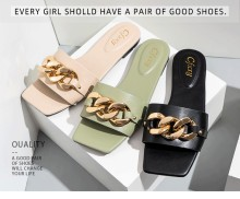 Women's flat shoes chain decoration