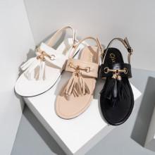 Summer women's flat sandals with tassels fashion metal decoration
