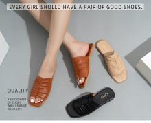 Trendy pleated open-toe comfortable soft bottom flat-heel handmade women's slippers