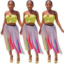 Fashion Women Gradient Stripes Print Pleated Skirt Summer Casual Midi Skirts