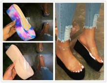 (ebay price:$21.81)Women's ladied fashion transparent platform slippers