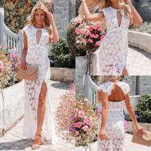 (ebay price:$29.41)New lace sexy hollow slit temperament dress