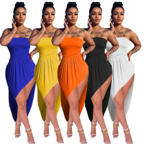 (ebay price:$19.36)Fashion Women Strapless Off Shoulder Solid Color High Low Irregular Sexy Dress