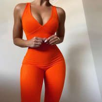 (ebay price:$17.88)Summer women's sexy low-cut V-neck sleeveless high-waist tight-fitting casual sports jumpsuit