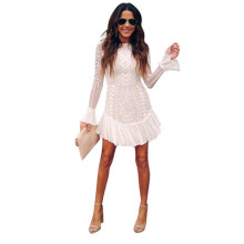 (ebay price:$28.47)New autumn and winter sexy temperament lotus leaf sleeve lace fashion dress