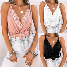 (ebay price:$14.91)Spring and summer new sexy V-neck lace stitching suspender top