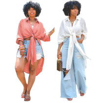(ebay price:$22.67)Women Turn-down Neck Long Sleeve Single-breasted Side Slit Solid Shirt Dress
