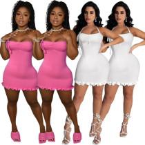 (ebay price:$16.6)Sexy Women Halter Sleeveless Backless Ruffled Pure Color Mini Bodycon Dress