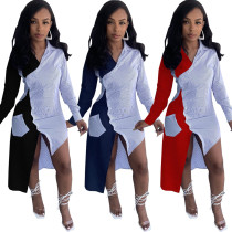 (ebay price:$21.62)Women Long Sleeves Colorblock Buttons Blouses Pockets Casual Long Shirts Dress