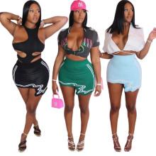 (ebay price:$16.53)Women Fashion Stripe Print Pure Color Irregular Pencil Skirt Casual Mini Skirt