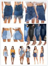 (ebay price:$24.63)Fashion Women All-match Pockets Distressed Belted Irregular Denim Pencil Skirt