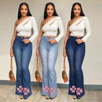 (ebay price:$30.95)Women's High Waist Slim Fit Printed Micro Flare Jeans