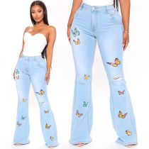 (ebay price:$35.05)Women Fashion All-match Distressed Butterfly Embroidered Boot-cut Denim Jeans